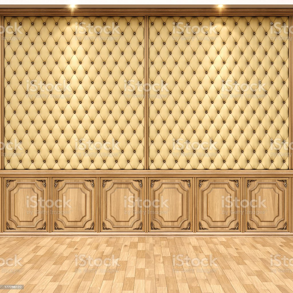 The brown interior wall of a home with the hardwood floor royalty-free stock photo