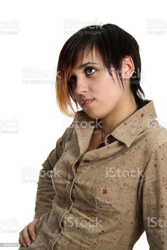 The brunette girl with a pensive sight royalty free stockfoto