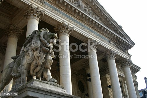 Left lion at the Brussels Stock Exchange