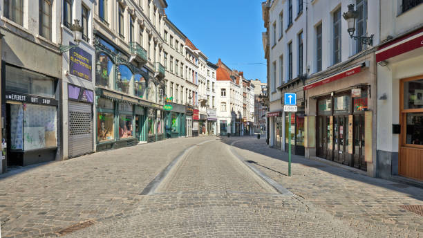 The Brussels streets without any people and car during the confinement period. stock photo