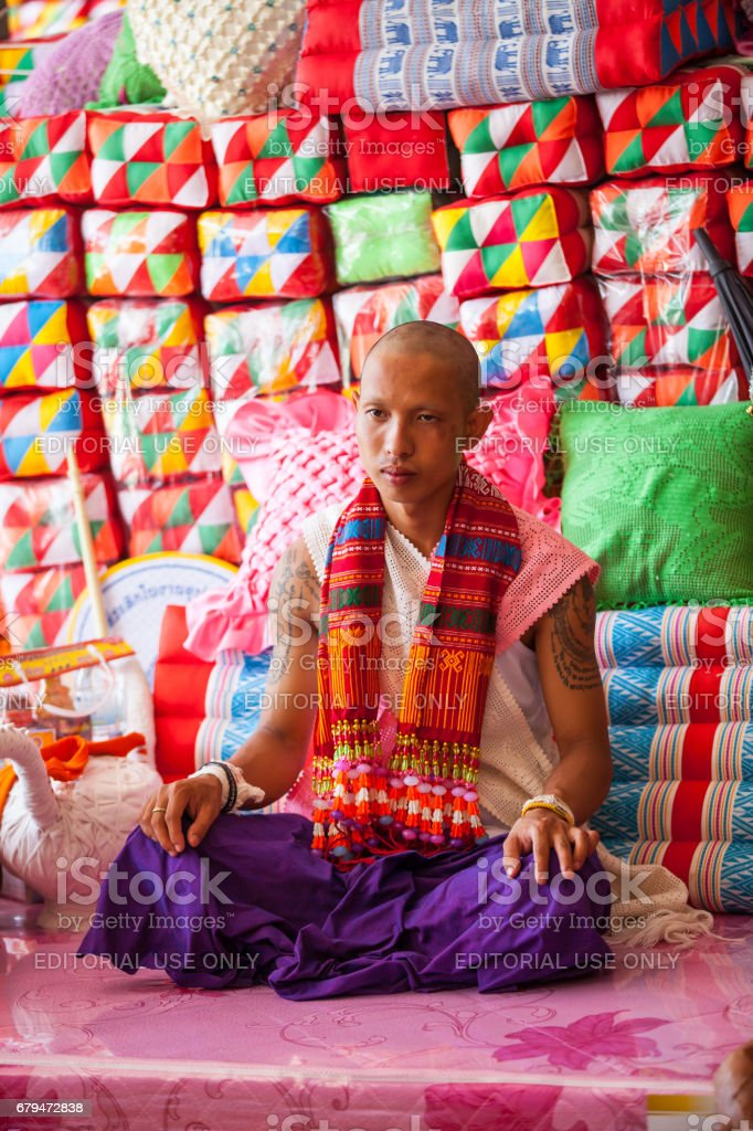The Brutal Ordination Parade a New Monk or Priest. royalty-free stock photo