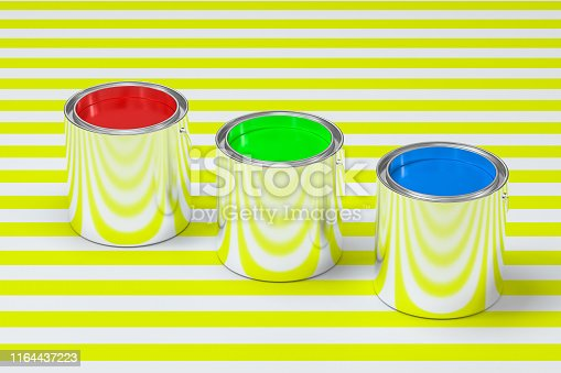 939851856 istock photo The buckets of colorful paint with white background, 3d rendering. Computer digital drawing. 1164437223