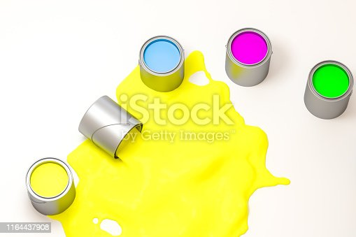 939851856 istock photo The buckets of colorful paint with white background, 3d rendering. Computer digital drawing. 1164437908