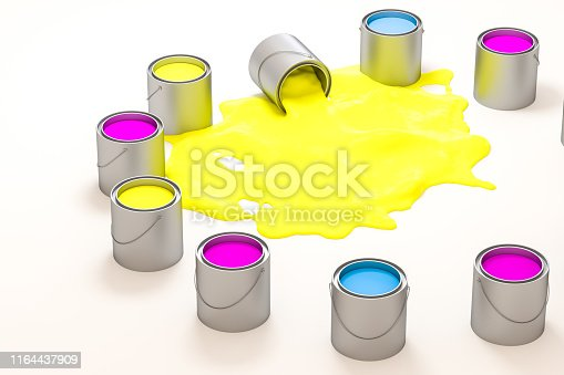 939851856 istock photo The buckets of colorful paint with white background, 3d rendering. Computer digital drawing. 1164437909