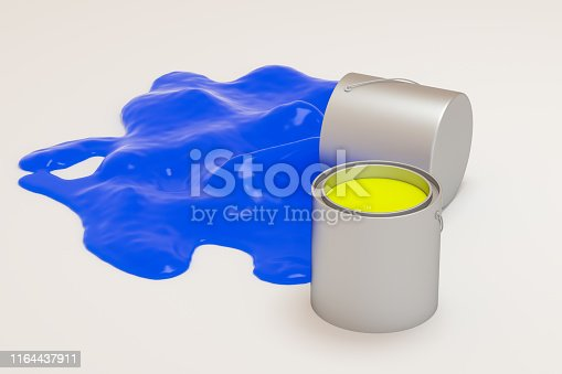 939851856 istock photo The buckets of colorful paint with white background, 3d rendering. Computer digital drawing. 1164437911