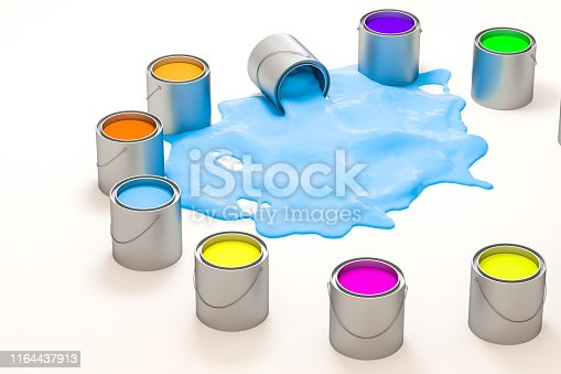 939851856 istock photo The buckets of colorful paint with white background, 3d rendering. Computer digital drawing. 1164437913