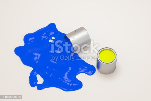 939851856 istock photo The buckets of colorful paint with white background, 3d rendering. Computer digital drawing. 1164437914