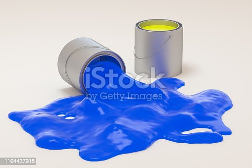 939851856 istock photo The buckets of colorful paint with white background, 3d rendering. Computer digital drawing. 1164437915