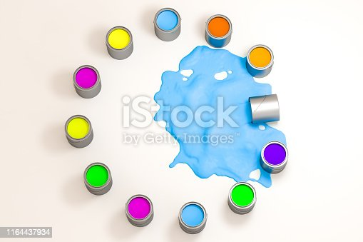 939851856 istock photo The buckets of colorful paint with white background, 3d rendering. Computer digital drawing. 1164437934