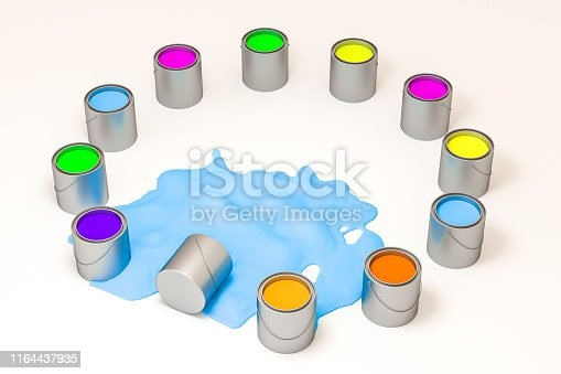 939851856 istock photo The buckets of colorful paint with white background, 3d rendering. Computer digital drawing. 1164437935