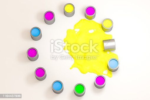 939851856 istock photo The buckets of colorful paint with white background, 3d rendering. Computer digital drawing. 1164437936