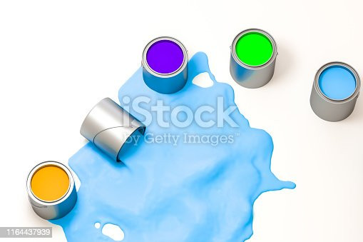 939851856 istock photo The buckets of colorful paint with white background, 3d rendering. Computer digital drawing. 1164437939