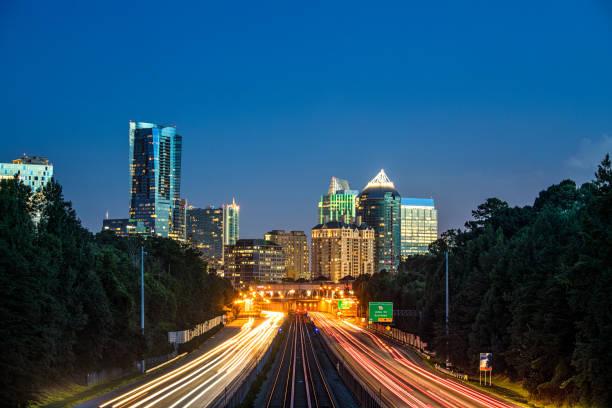 The Buckhead Atlanta skyline from the north end stock photo