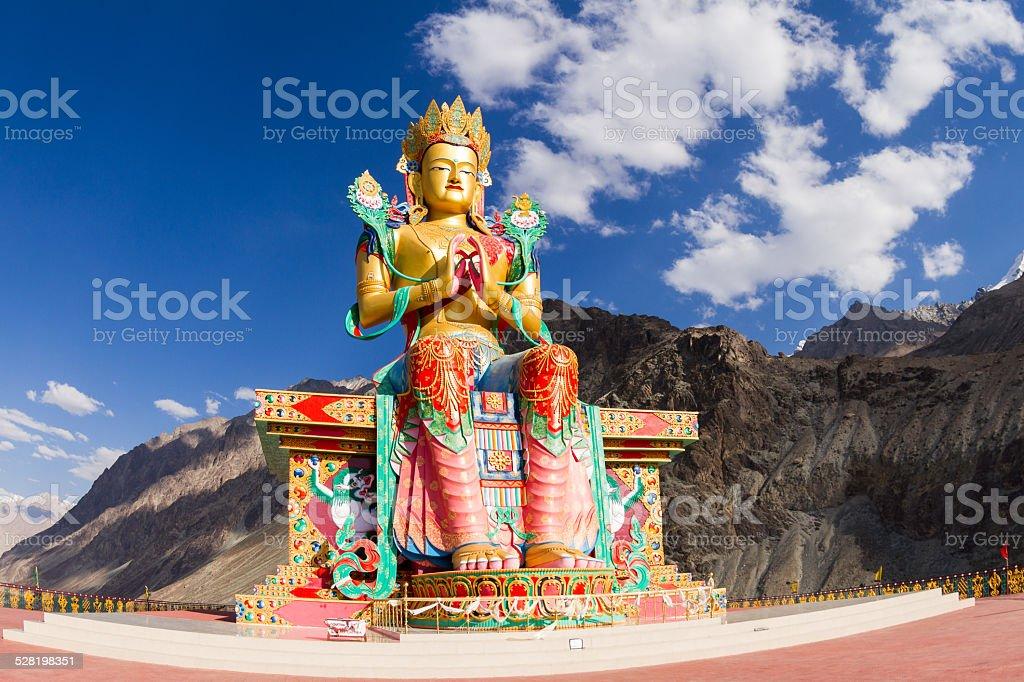 The Buddha  Maitreya statue in Nubra valley stock photo