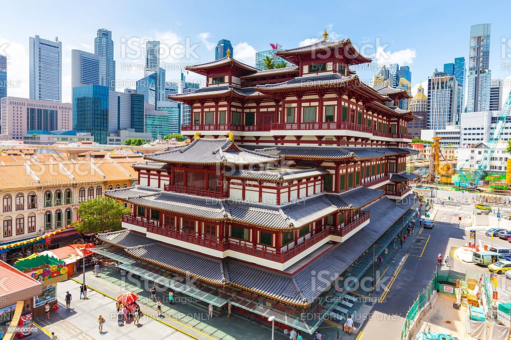 The Buddha Tooth Relic Temple in Singapore stock photo
