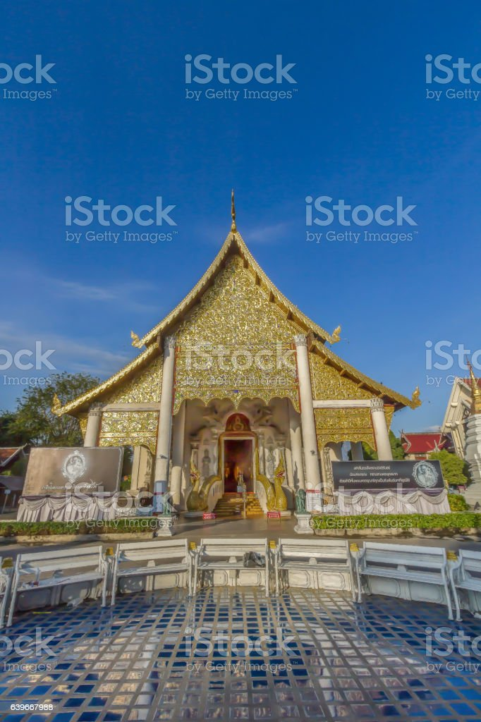 The Buddhist Temple in Thailand (Wat Chedi Luang, Chiang Mai, Thailand) stock photo