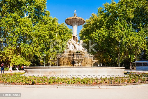 The Buen Retiro Park is one of the largest parks of the city of Madrid, Spain. Madrid is the capital of Spain.