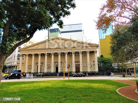 Buenos Aires, Argentina - June 02, 2019 The Buenos Aires Metropolitan Cathedral (Catedral Metropolitana de Buenos Aires).The Plaza de Mayo (May Square) in Buenos Aires city.