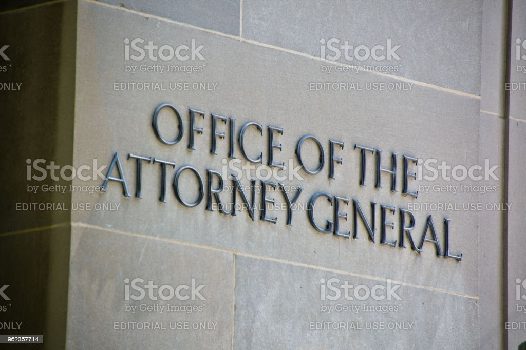The Building Entrance Sign of the US Office of the Attorney General Building in Washington DC stock photo