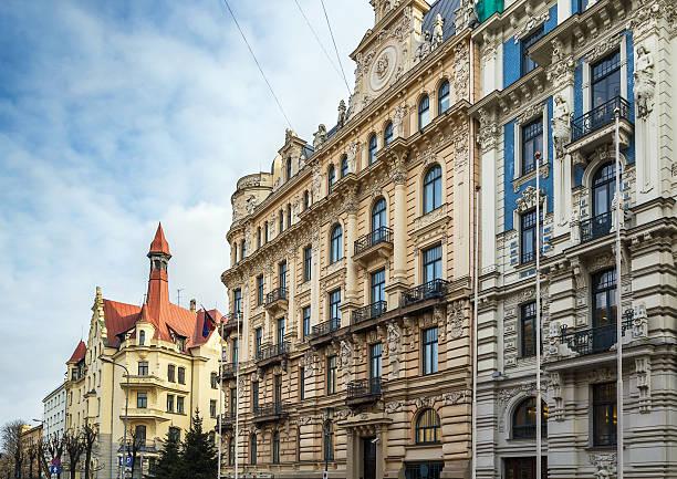 El edificio de estilo Art Nouveau, Riga - foto de stock