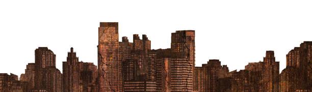 Das Gebäude ist rostig und gebrochen verbrannt in Stadtansichten auf weißem Hintergrund, Verlassene Stadt – Foto