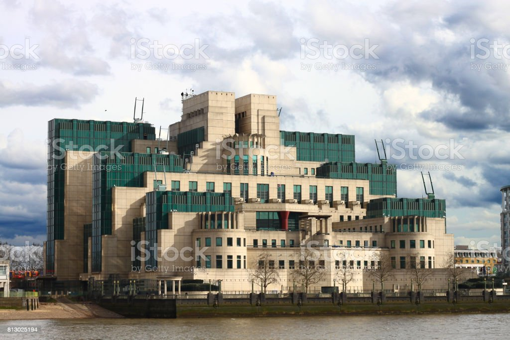 The building of MI6 in a movie of Jame bond 007. stock photo