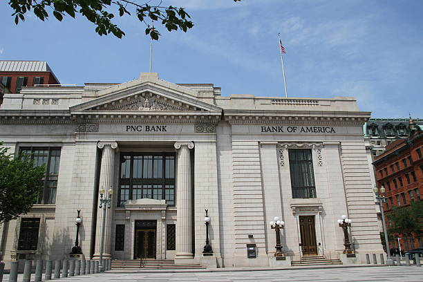 The building of the Bank of America and PNC Bank stock photo