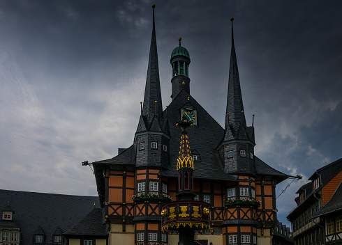 The building of town hall of  Wernigerode, Germany