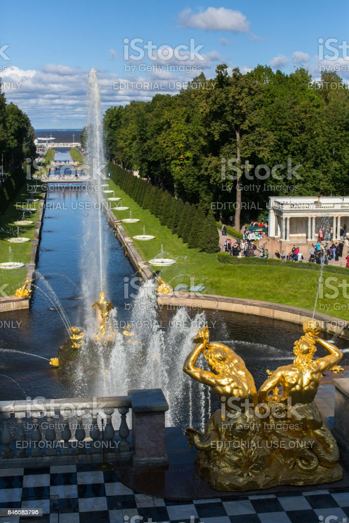 The buildings of the complex Peterhof Palace in St.Petersburg stock photo