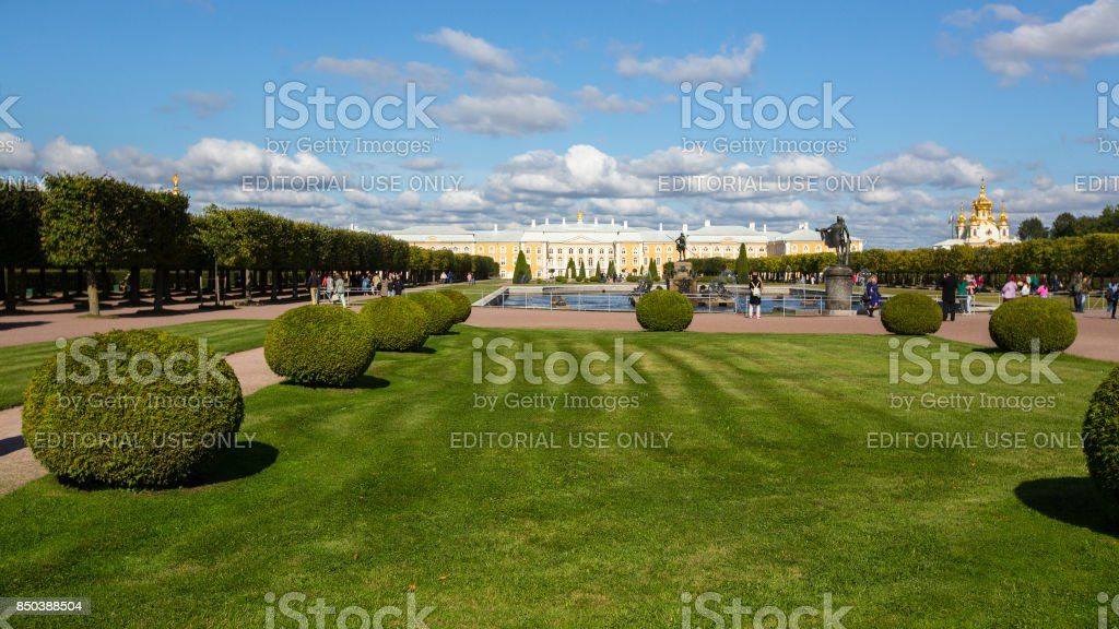 The buildings of the complex Peterhof Palace. Included in the UNESCO's World Heritage List. stock photo