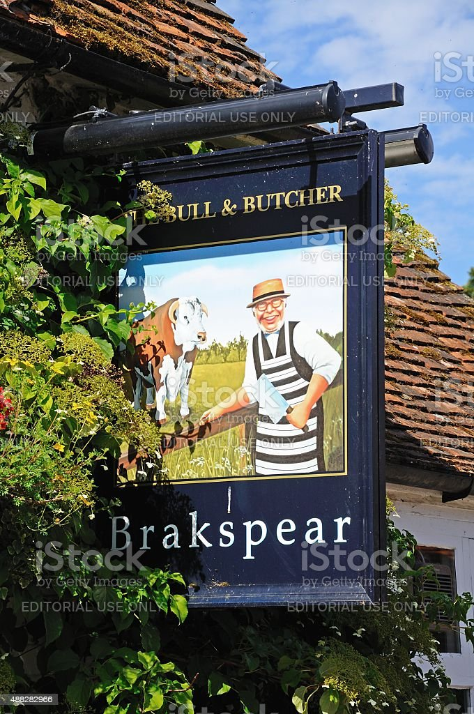 The Bull and Butcher Pub sign. stock photo