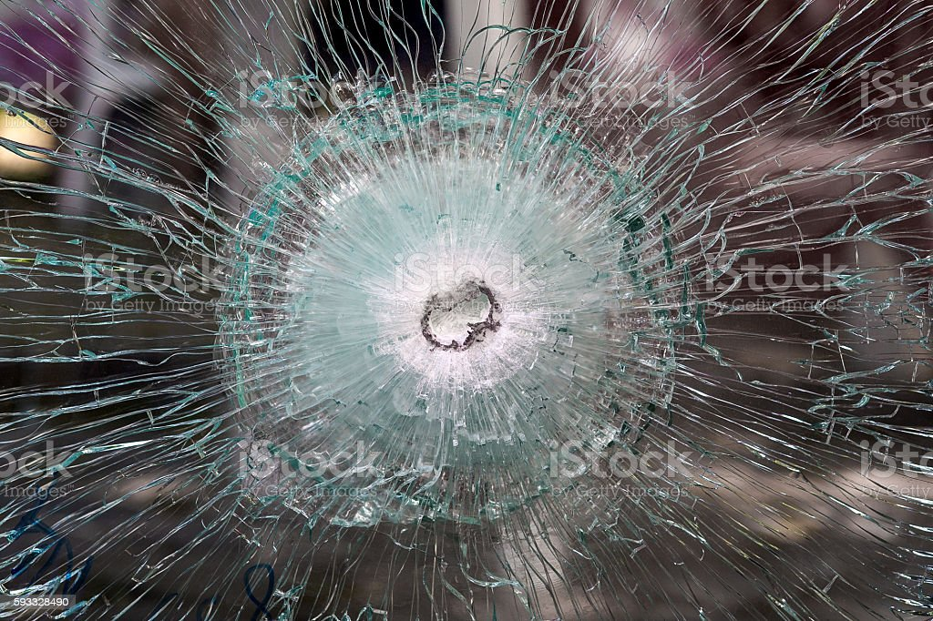 the bulletproof glass. stock photo