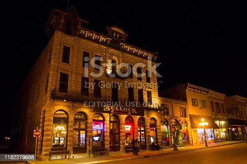 Deadwood, United States - March 9, 2012. People in front of the Bullock Hotel in Deadwood, South Dakota, USA.