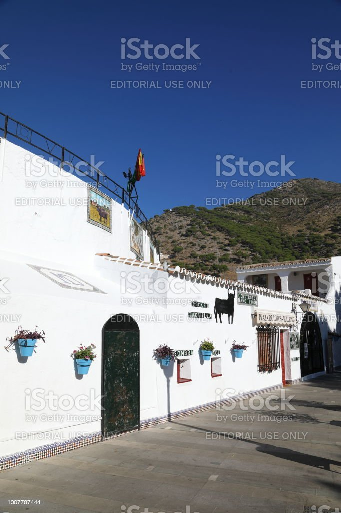 The bullring of Mijas - the white town above Fuengirola stock photo
