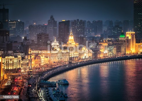 High angle night view looking onto the famous, historic architecture of The Bund (Zhongshan Road), facing the Huangpu river.