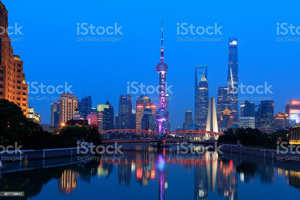 The Bund of Shanghai Panorama stock photo