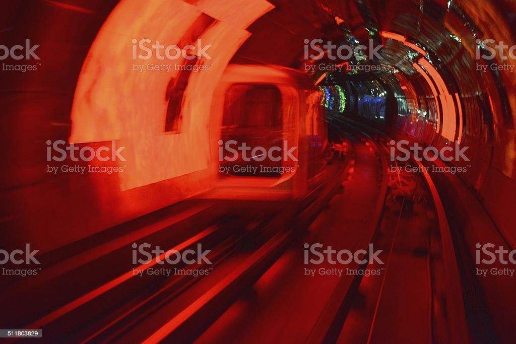 The Bund sightseeing tunnel, Shanghai stock photo