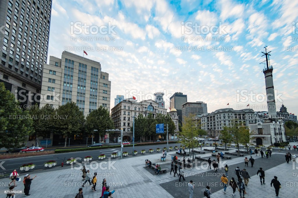 The Bund waterfront area of Shanghai, China stock photo