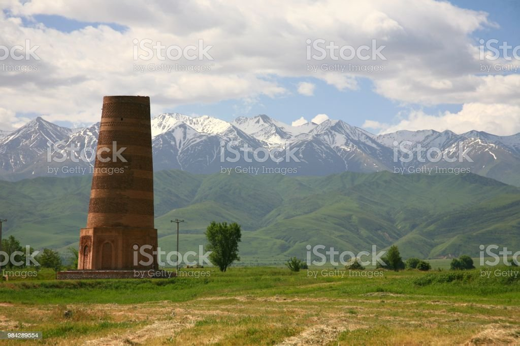 The Burana Tower in the Chuy Valley at northern  of the country's capital Bishkek, Kyrgyzstan stock photo