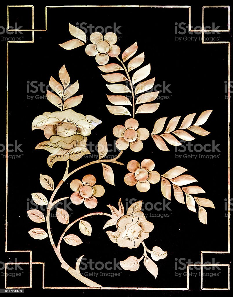The Buried pearl of thai art on wood royalty-free stock photo
