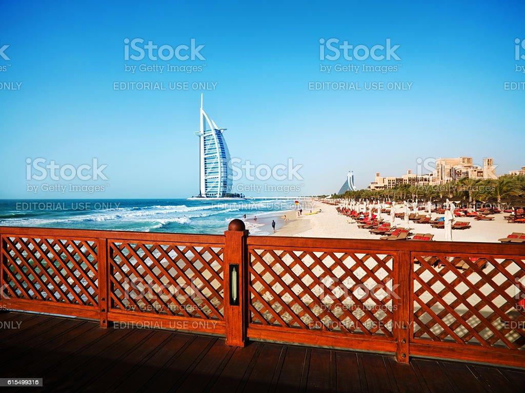 The Burj Al Arab Hotel in Dubai stock photo
