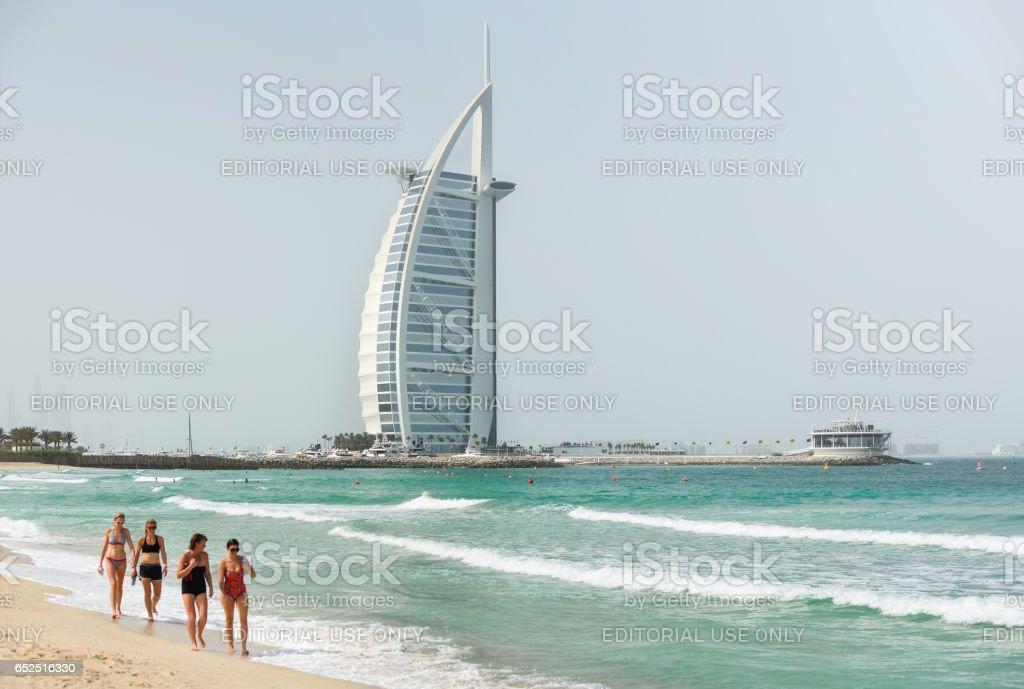 The Burj Al Arab note and Jumeira beach stock photo