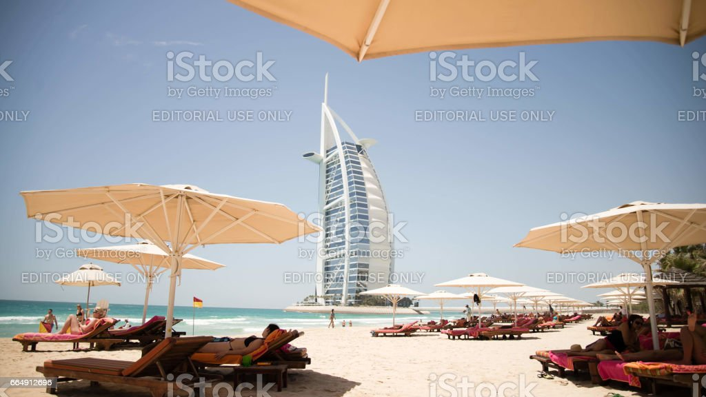 The Burj El Arab hotel in Dubai, United Arab Emirates, as seen from Jumeirah Beach Hotel stock photo