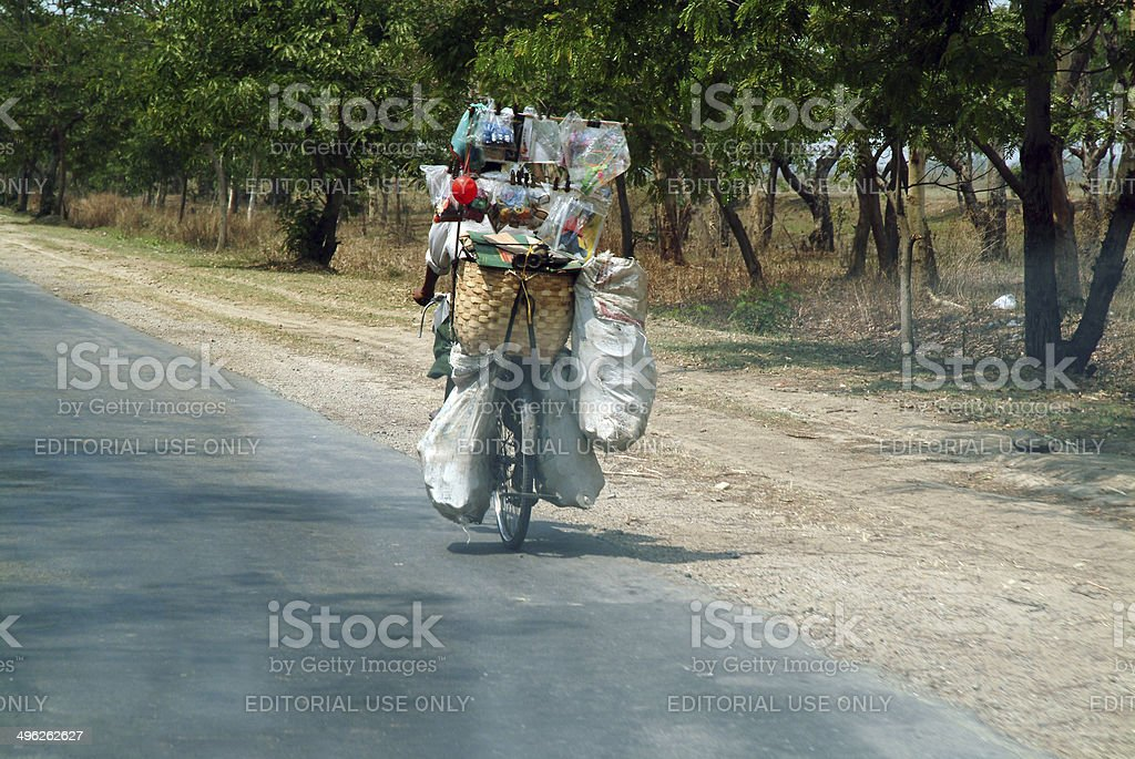 The Burmese people using the bike everyday . stock photo