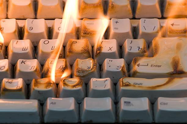 The burning keyboard stock photo