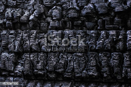 istock The burnt frame of the private village wooden house. Burnt wood texture. 1226567000