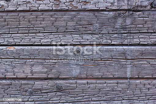 istock The burnt frame of the private village wooden house. Burnt wood texture. 1226567106