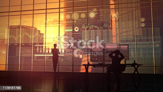 850852928istockphoto The business woman considers the data from the exchange 1129151765