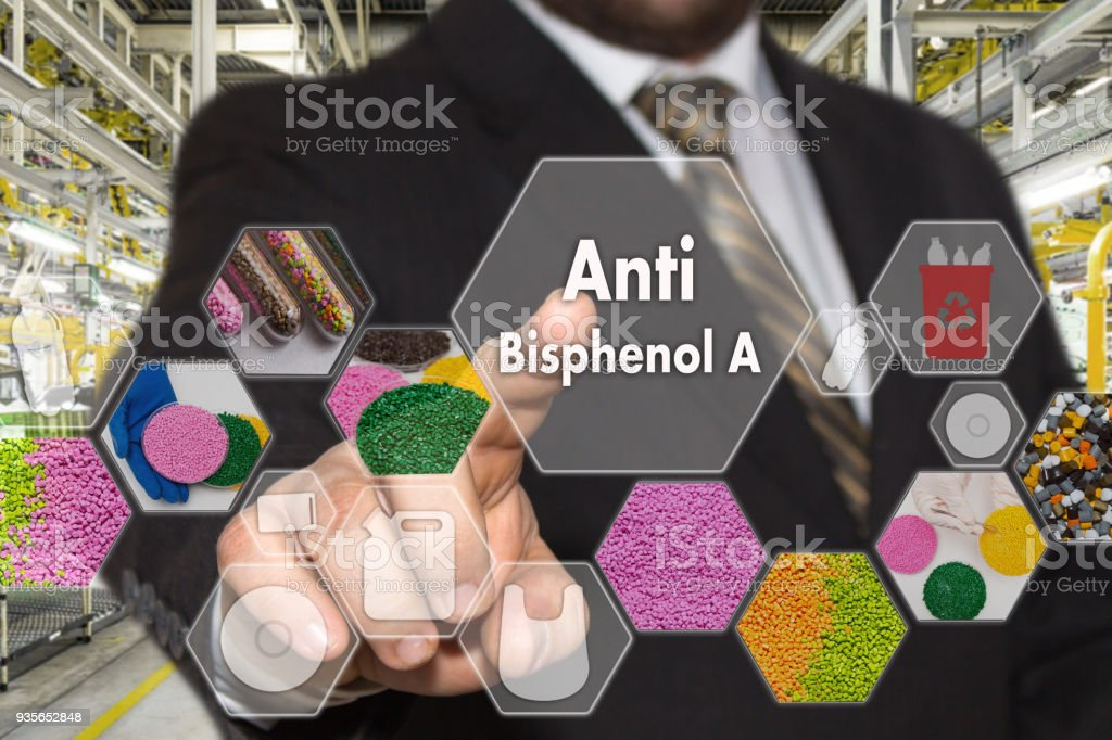 The businessman chooses Anti Bisphenol A on the virtual screen in industrial network connection.The concept made by plastic tare of Anti BPA stock photo