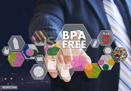 istock The businessman chooses BPA FREE a on the virtual screen in industrial network connection.The concept made by plastic tare of FREE bisphenol A 935652940
